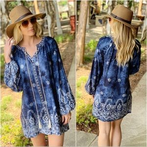 Infinity Raine Dresses - Navy Embroidered mineral wash tunic dress